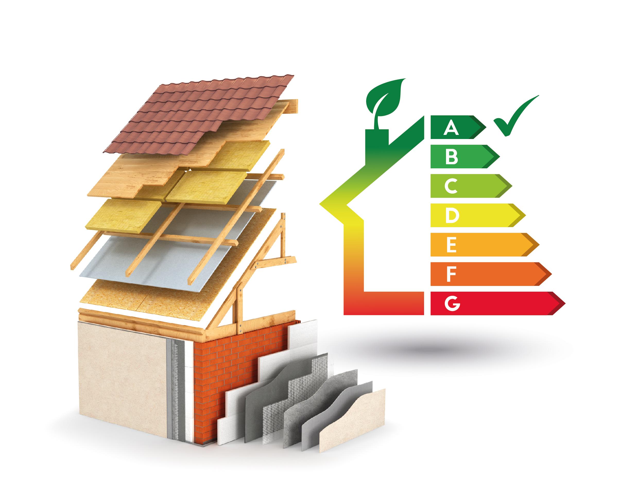 Grafik Bauphysik, die die Dämmung eines Hauses schematisch darstellt