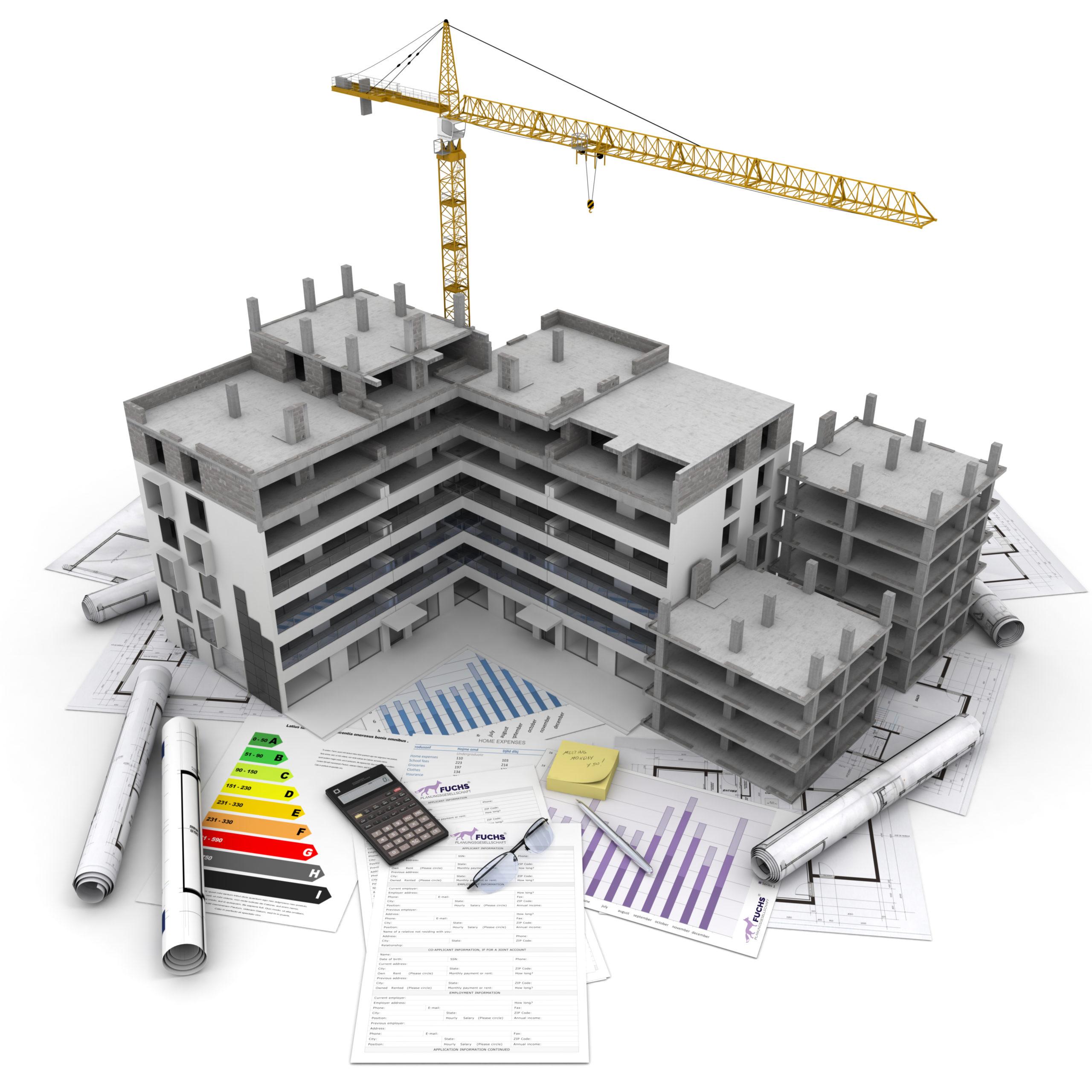 Ansicht eines sich im Bau befindlichen Gebäudes und Unterlagen mit Berechnungen zur Bauphysik