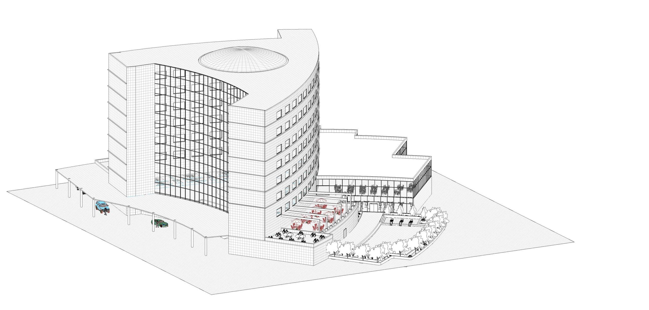 Entwurf eines Gebäudes bei dem die Wichtigkeit der Tragwerksplanung zur Geltung kommt.