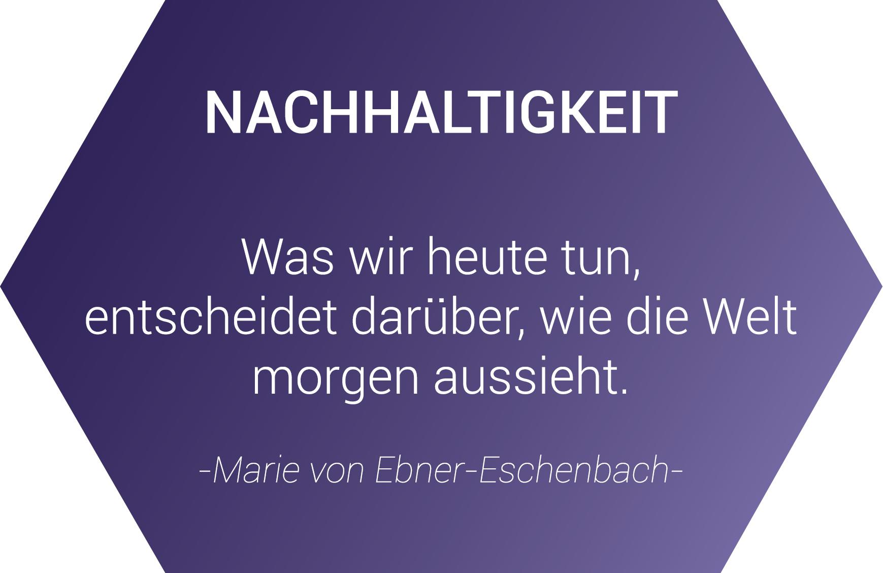 Nachhaltigkeit - Was wir heute tun, eintscheidet darüber, wie die Welt morgen aussieht. - Zitat von Marie von Ebner-Eschenbach