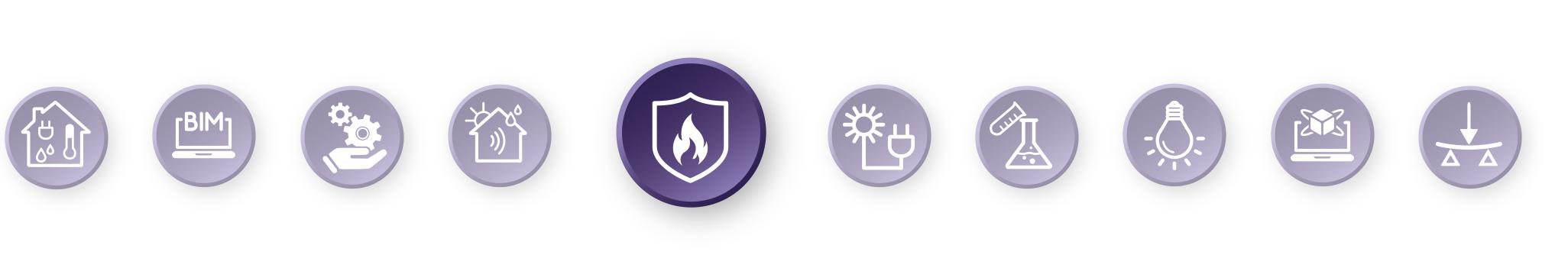 Piktogramm-Leiste mit hervorgehobenem Brandschutz-Symbol