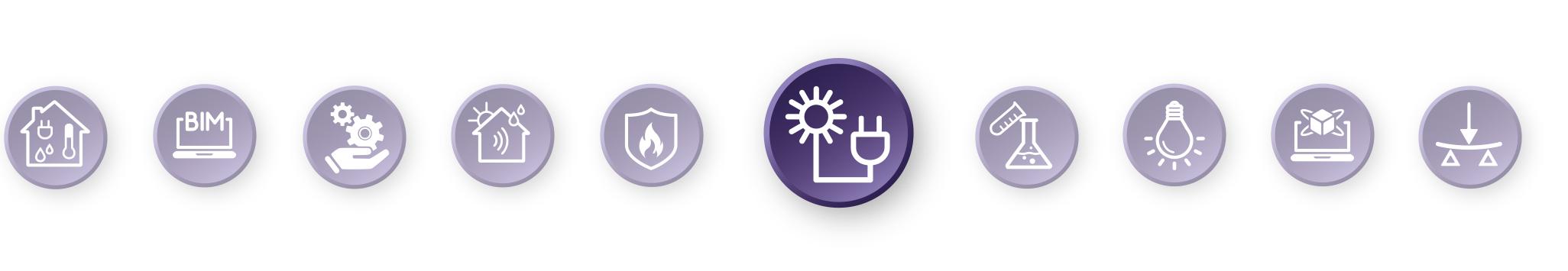 Piktogramm-Leiste mit hervorgehobenem Energiedesign-Symbol