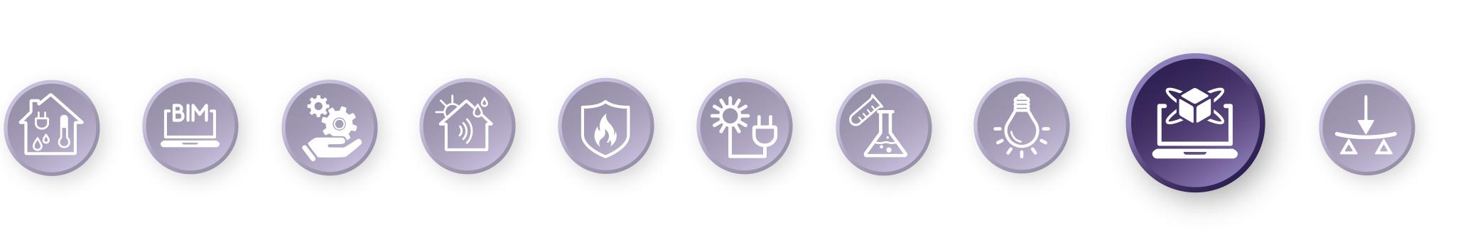 Piktogramm-Leiste mit hervorgehobenem Simulation-Symbol