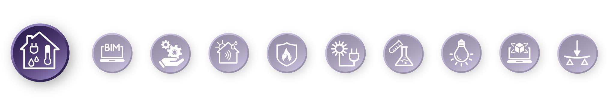 Piktogramm-Leiste mit hervorgehobenem TGA-Symbol